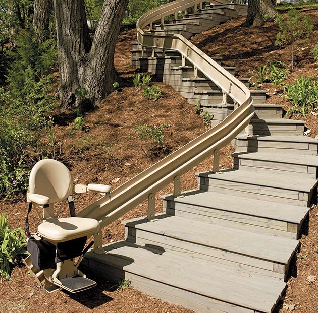 LA outside exterior custom curved stairchair